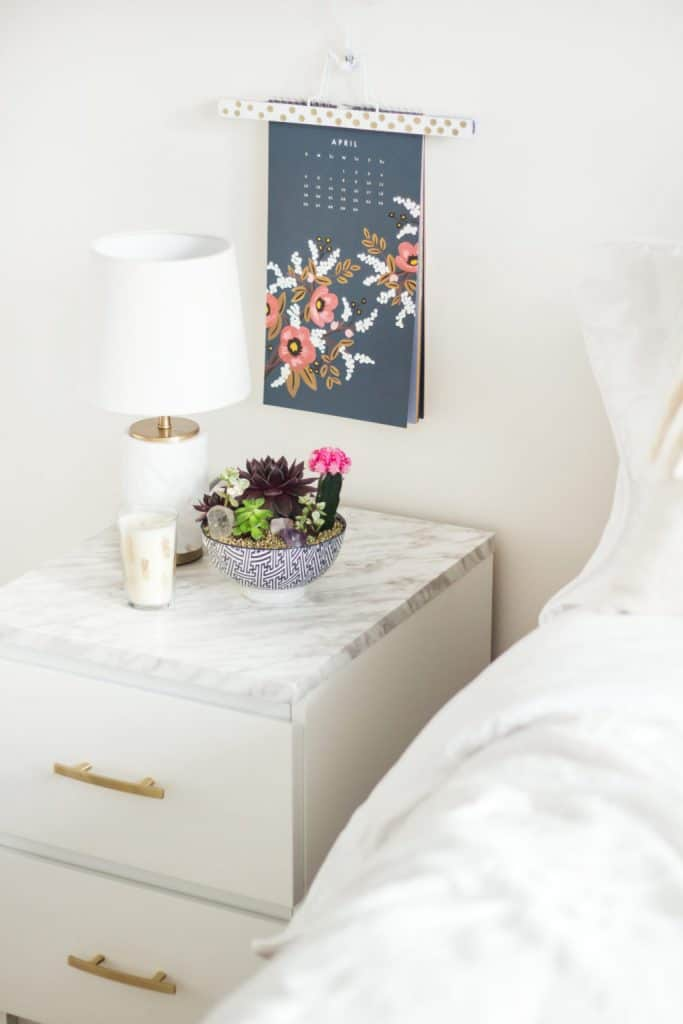 IKEA MALM END TABLE DIY - IKEA HACK WITH GOLD PAINT