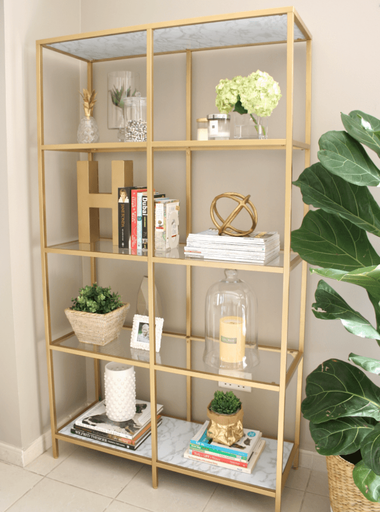 DIY GOLD BOOKSHELF - IKEA HACK USING GOLD PAINT