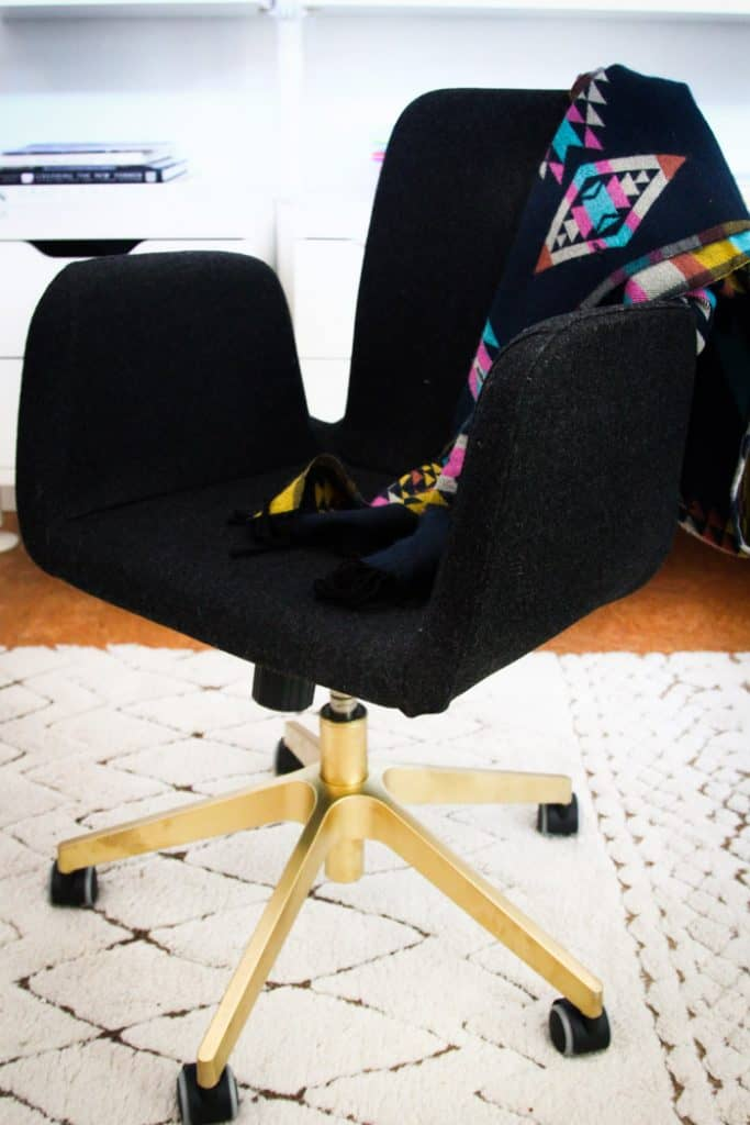 QUICK IKEA OFFICE CHAIR HACK USING GOLD PAINT