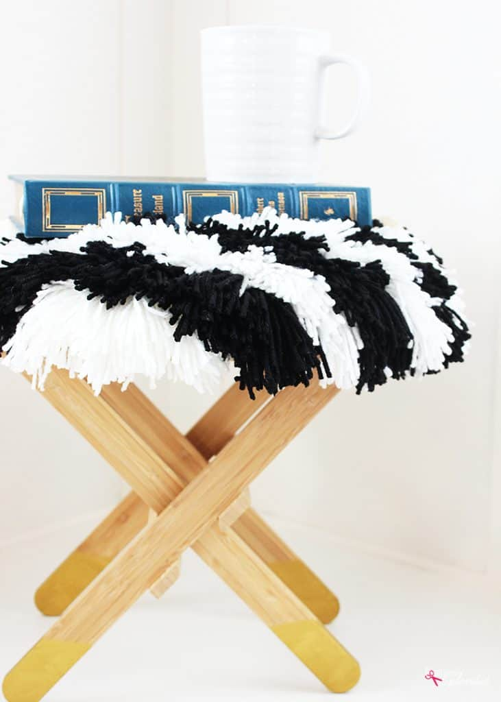 BLACK AND WHITE STRIPED SHAG FOOTSTOOL (IKEA HACK IDEA)