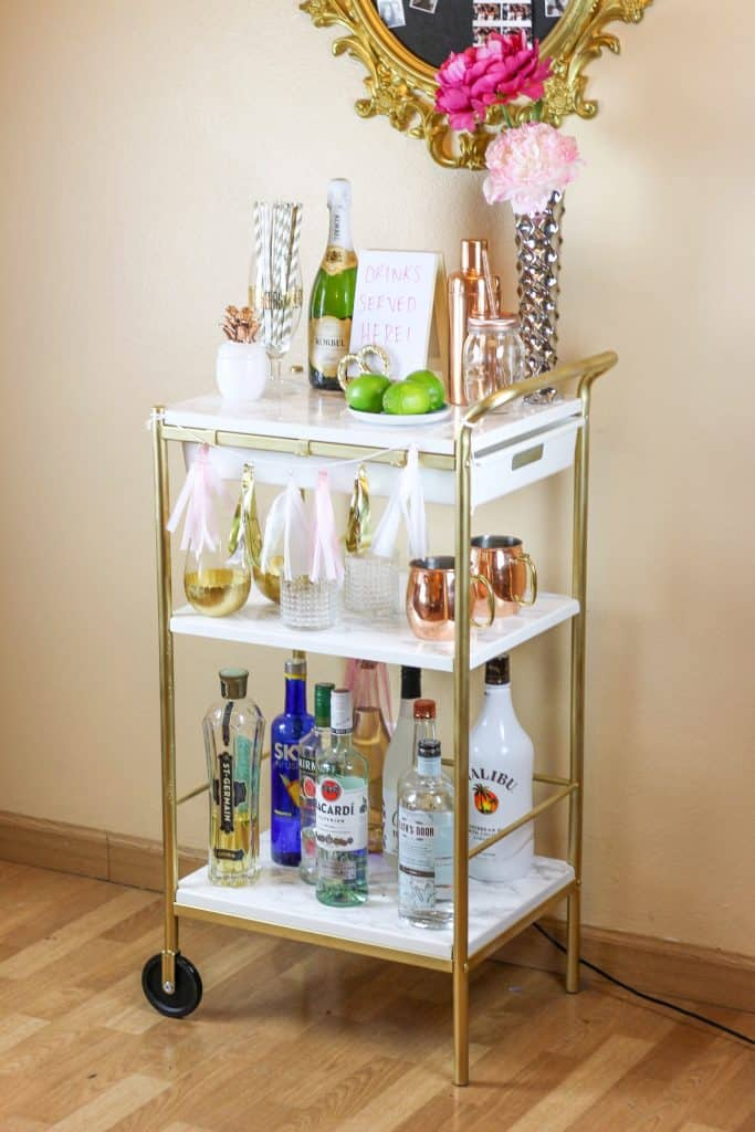 Ikea hack DIY bar cart with gold paint