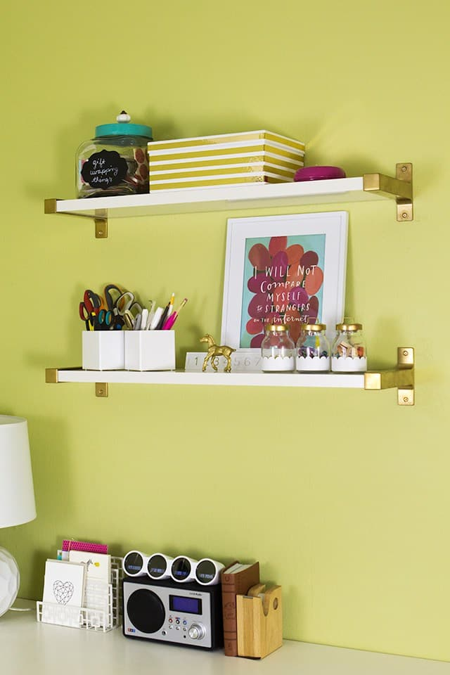 GOLD IKEA EKBY BJÄRNUM SHELVES - IKEA HACK USING GOLD PAINT
