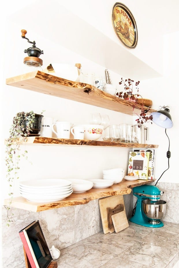 DIY Live edge floating shelves
