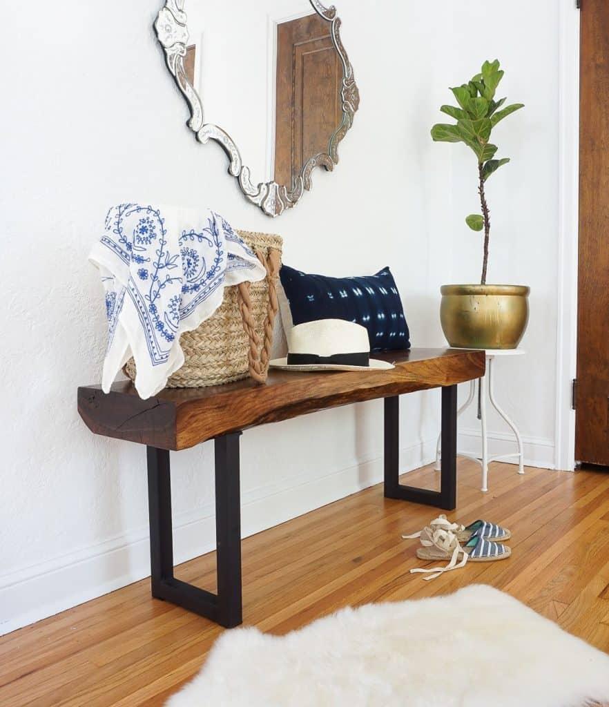 DIY Live edge walnut bench