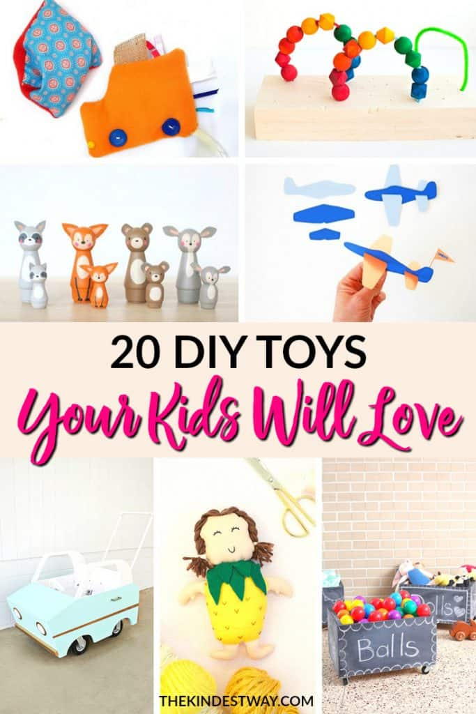 20 Adorable DIY Toys Your Kids Will Love. Try making some of these DIY kids toys today and you'll be super popular with your little ones! Have a baby shower coming up, or a child's birthday? Why buy toys, when you can make something super cute with these DIY toy ideas? #DIY #kids #toys #DIYtoys #diygifts #kidstoys #DIYcrafts #crafts #kidscrafts