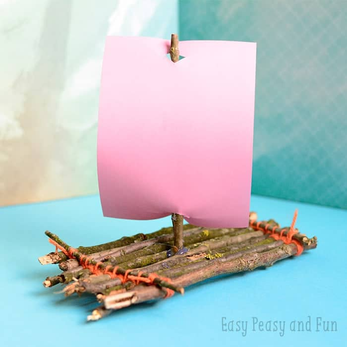 DIY kids toys. Twig Boat Craft.