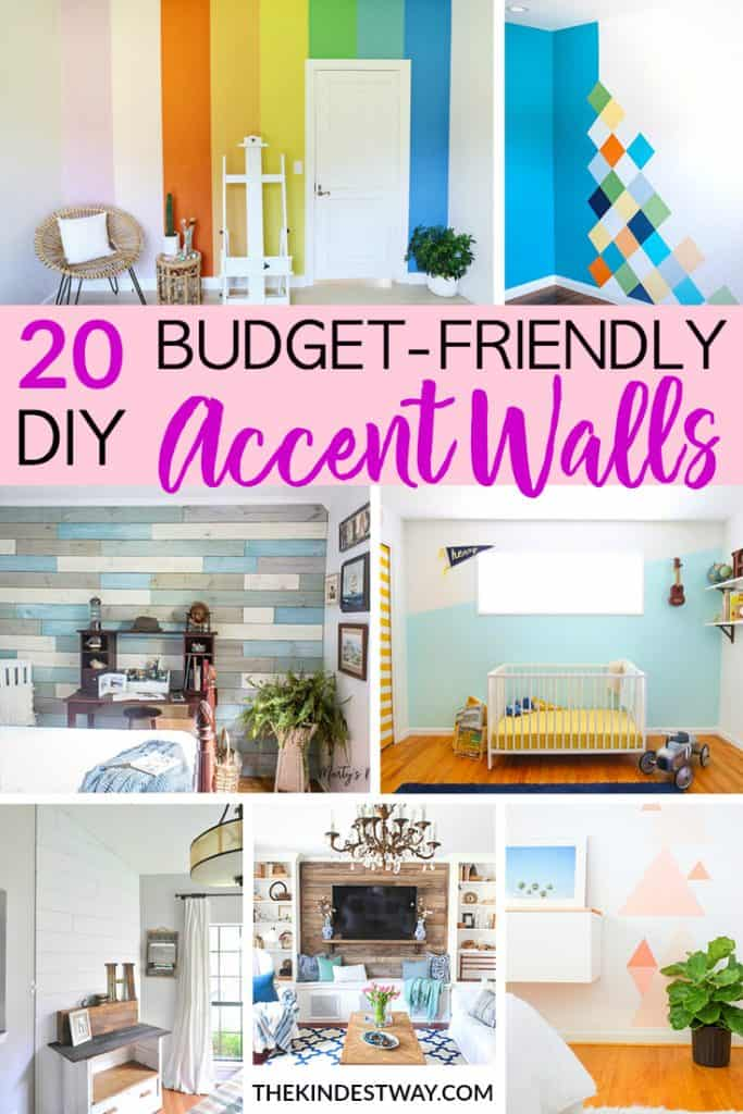 20 Accent wall Ideas that will look great in any room. With these accent walls you can transform any wall into an interesting feature wall, and it can be achieved on a budget! Try these DIY accent wall ideas for your bedroom or living room. Accent wall in living room ideas. Accent wall bedroom ideas. #diy #accentwall #featurewall #diyaccentwall #budget