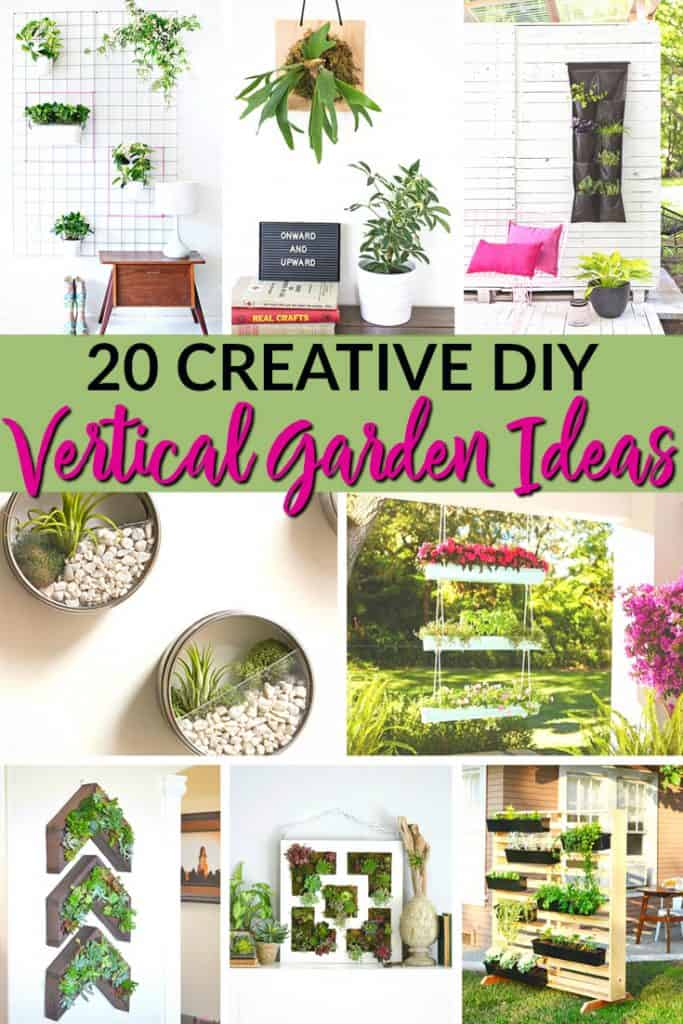 20 Creative DIY Vertical Garden Ideas. Would you love to have a garden but you're short on space? These DIY vertical garden ideas will give you plenty of inspiration for creating a vertical garden or living wall in your home! #garden #smallspacegarden #verticalgarden #livingwall #wallgarden