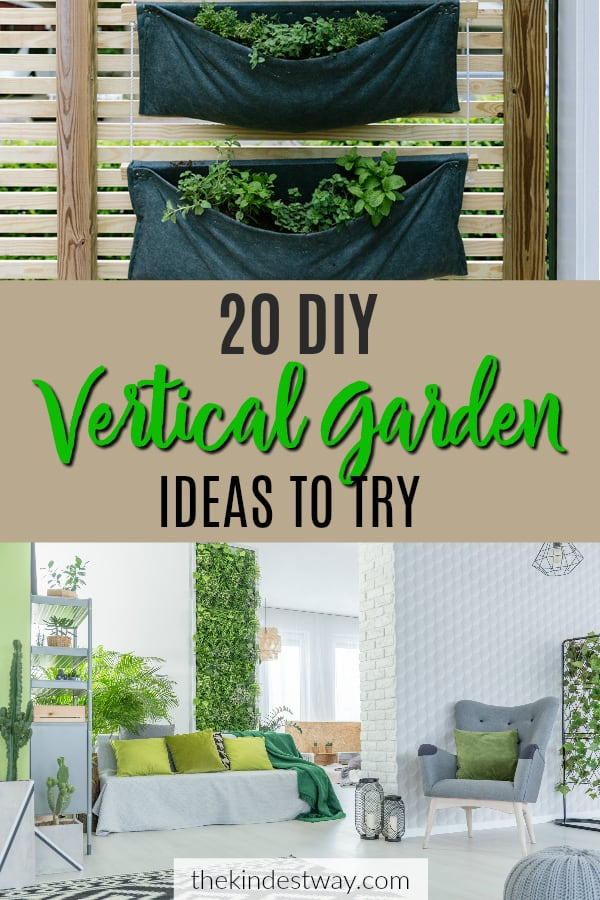 20 DIY Vertical garden ideas to try in your garden today. If you've always wanted a garden, green space or flower wall but you're short on space, help is at hand! These easy DIY vertical gardens are just the thing to get you growing in no time! #gardenideas #diy #outdoorspaces #verticalgarden #flowerwall #gardenwall #woodenpalletgarden #gardenideas