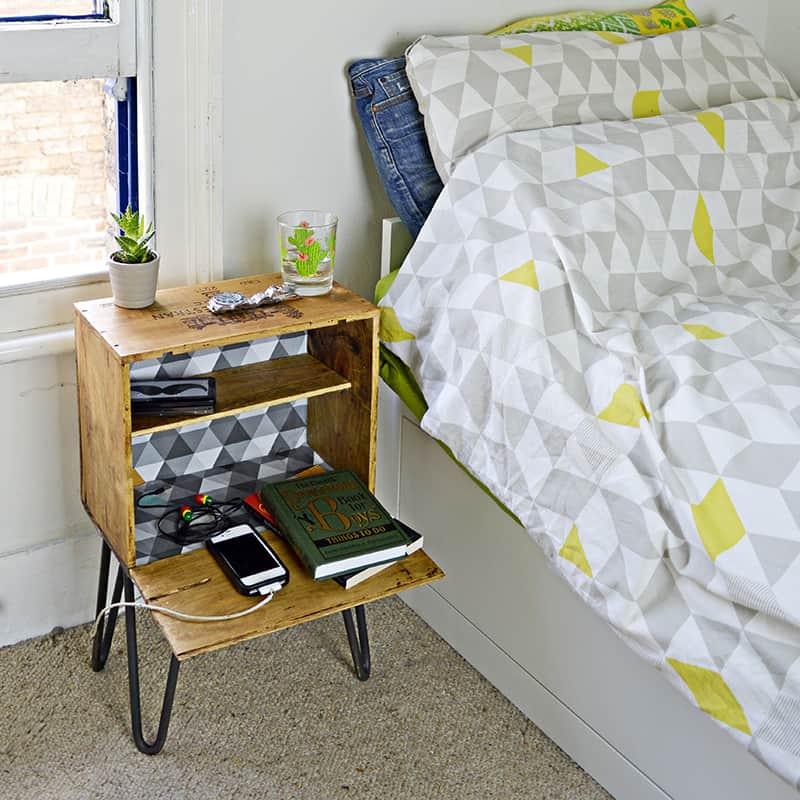 DIY Wine Crate Bedside Table