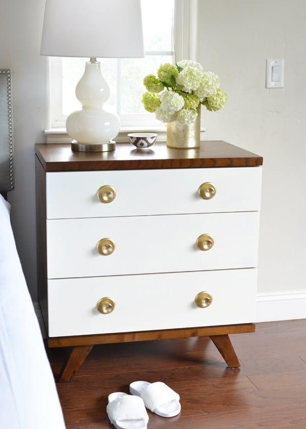 White & Gold DIY nightstand