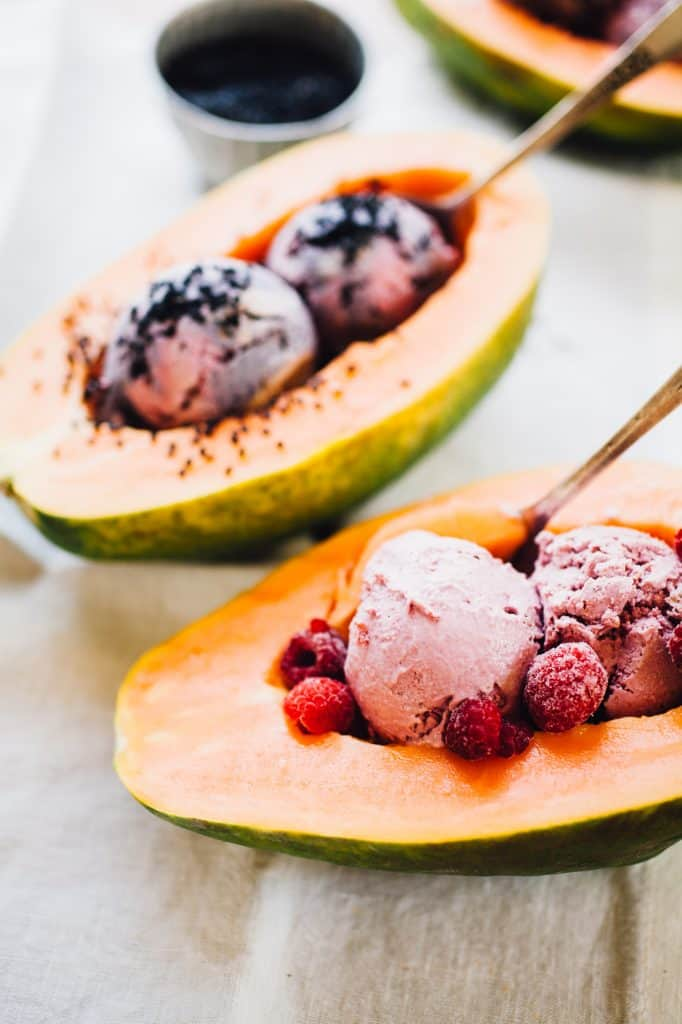Papaya nice cream boats - vegan ice cream recipe