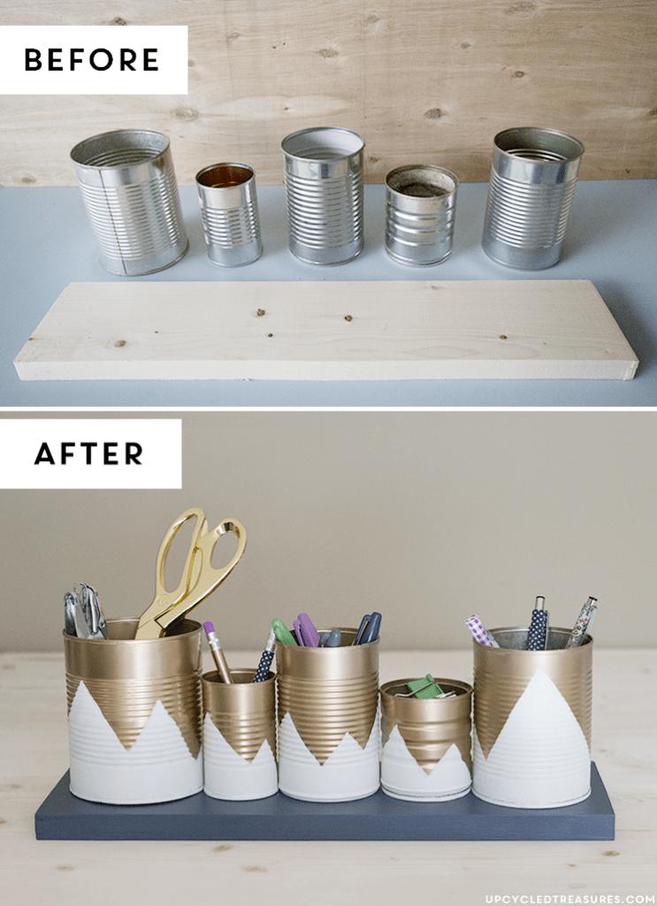 DIY Tin Can Organizer