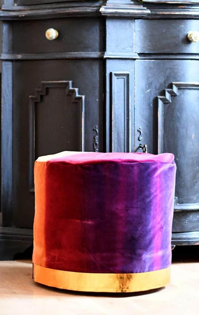 DIY velvet floor pouf