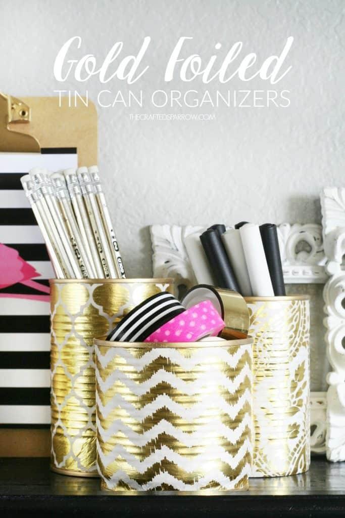 Gold tin can organizers
