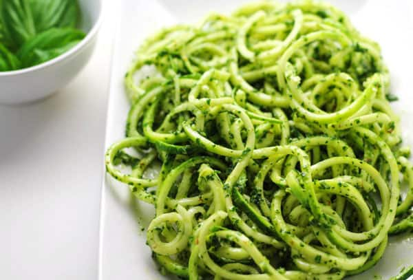 Vegan kale pesto with zucchini noodles recipe