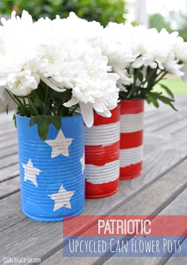 DIY tin can flower pots