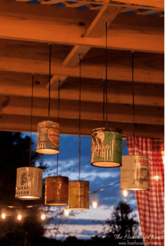 Tin can chandelier DIY