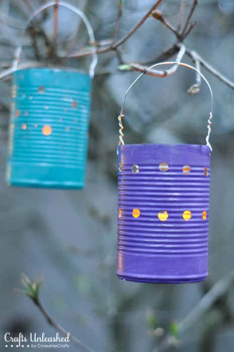 Recycled tin can lanterns