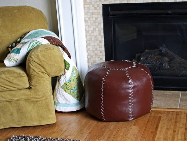 DIY Faux Leather Pouf