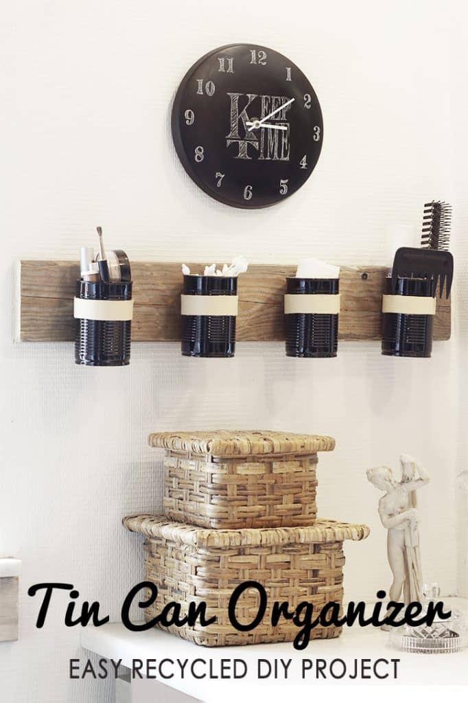 DIY Tin Can Wall Organizer