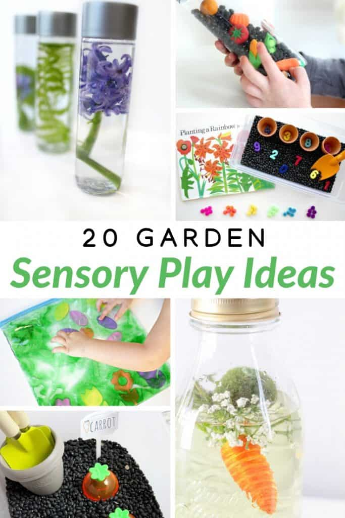20 fun and creative sensory activities for toddlers and preschoolers. Check out these garden themed sensory play ideas for kids! #sensory #kids #play #DIY